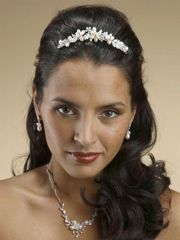 Mariell Freshwater Pearl Bridal Tiara Comb