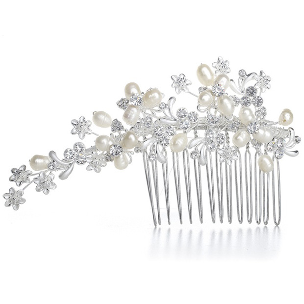 Mariell Freshwater Pearl Bridal Comb with Crystal