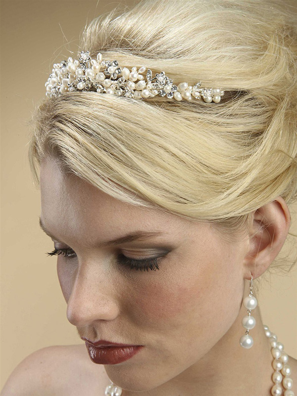 Mariell Bridal Tiara with Freshwater Clusters