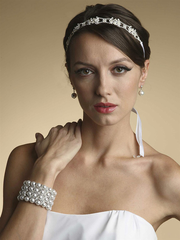 Mariell Swarovski Crystal Bridal Headband Or Belt with Ribbon