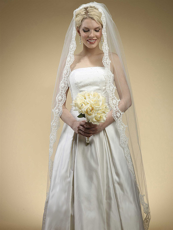 Mariell floor Length Bridal Mantilla Veil with Lace