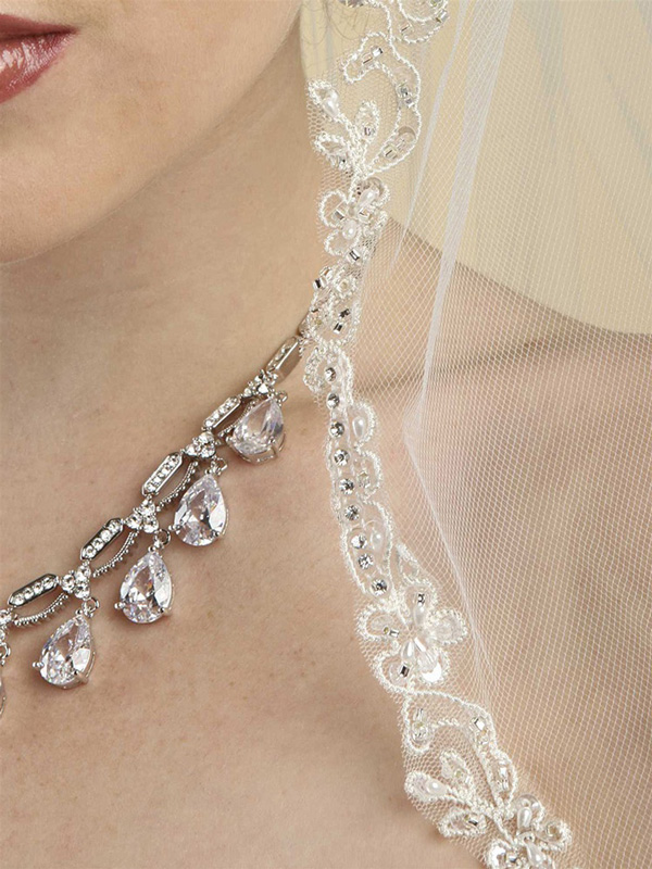Mariell Rhinestone Edge Mantilla Wedding Veil with floral Applique