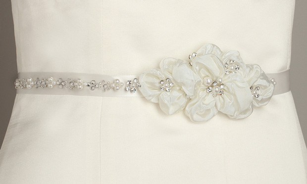 Mariell Pearl and Crystal flower Cluster Bridal Sash : Ivory