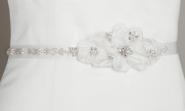 Mariell Pearl and Crystal flower Cluster Bridal Sash : White