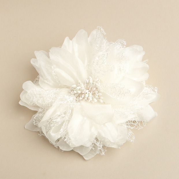 Mariell Soft Cream Wedding Hair flower Clip Or Brooch