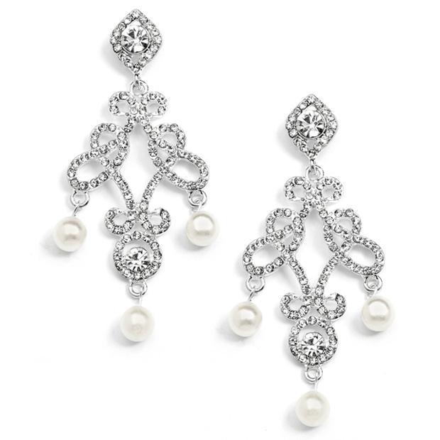 Mariell Vintage Wedding Chandelier Earrings