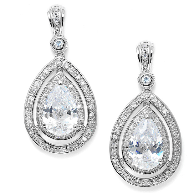 Mariell Bold Vintage Cubic Zirconia Wedding Earrings