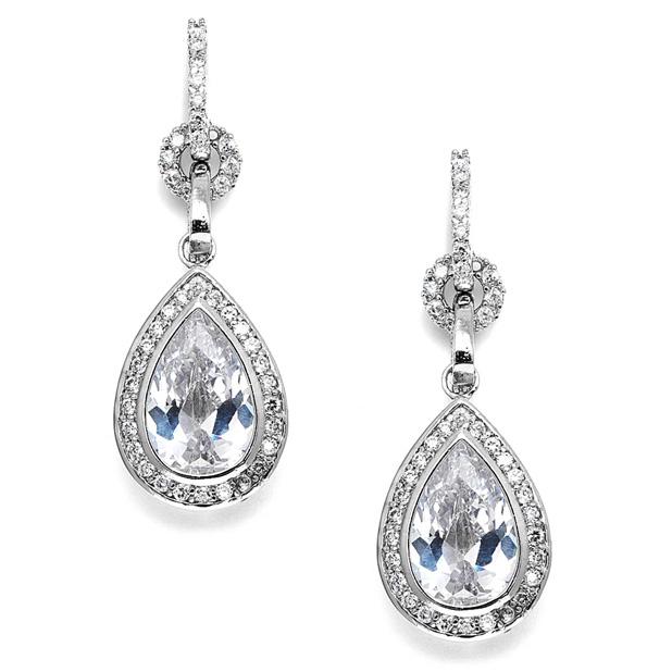 Mariell Bridal Or Prom Cubic Zirconia Teardrop Earrings
