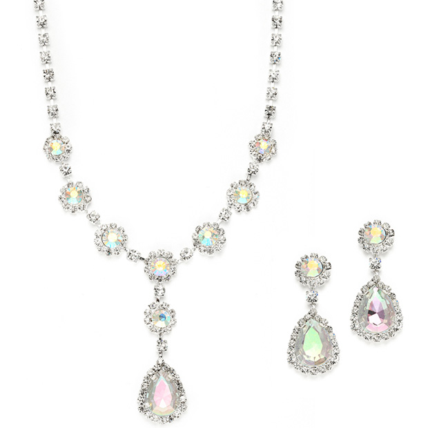 Mariell Iridescent Rhinestone Prom Or Bridesmaid Necklace & Earrings Set