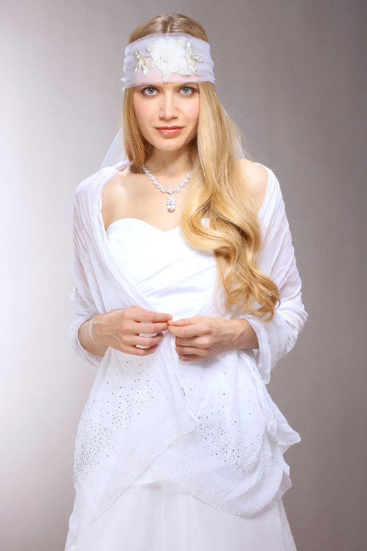Mariell White Crinkle Bridal Shawl with Scattered Crystals