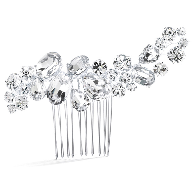 Mariell Bold Crystal Cluster Wedding Or Pageant Comb