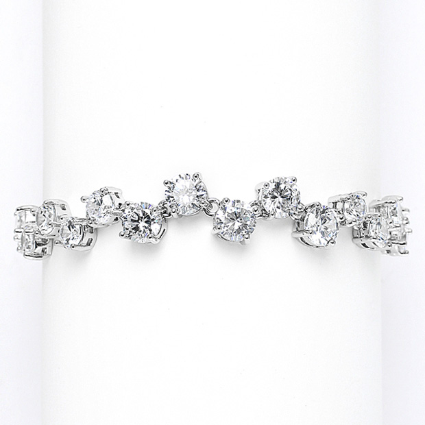 Mariell Cubic Zirconia Tennis Wedding Bracelet with Zig Zag Pattern