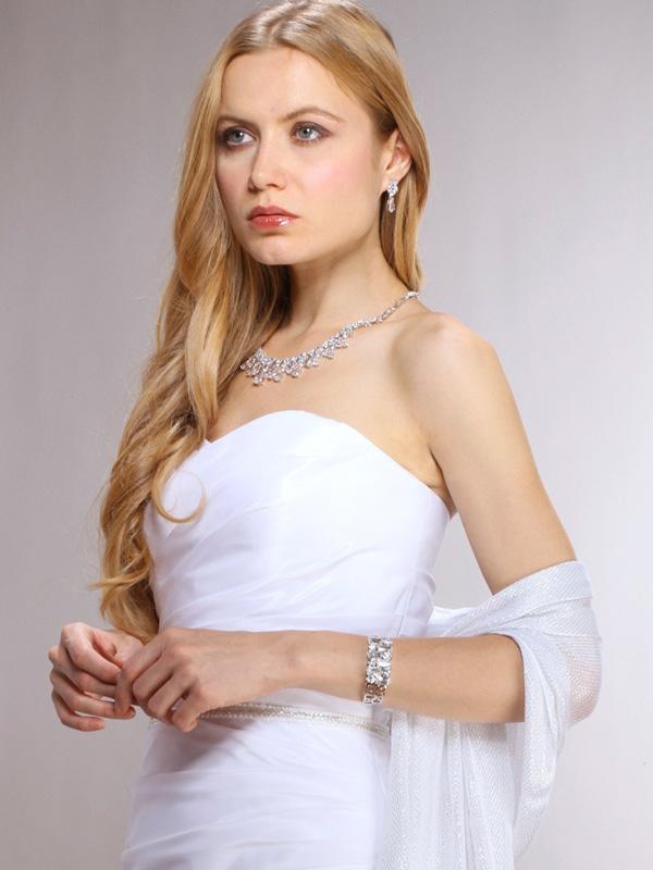 Mariell Glamorous Cubic Zirconia Teardrops Wedding Necklace & Earrings Set