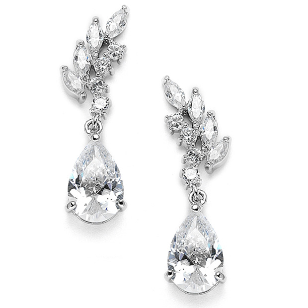 Mariell Cubic Zirconia Bridal Or Bridesmaids Earrings with Baby Leaves & Teardrops