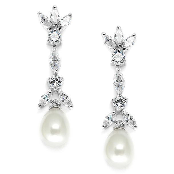 Mariell Freshwater Pearl & Cubic Zirconia Tulip Wedding Earrings