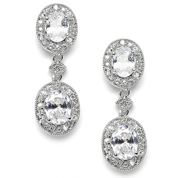 Mariell Vintage Cubic Zirconia Bridal Or Bridesmaids Earrings