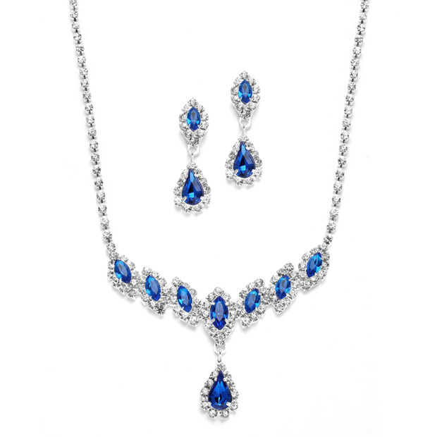 Mariell Royal Blue Rhinestone Necklace & Earrings Set