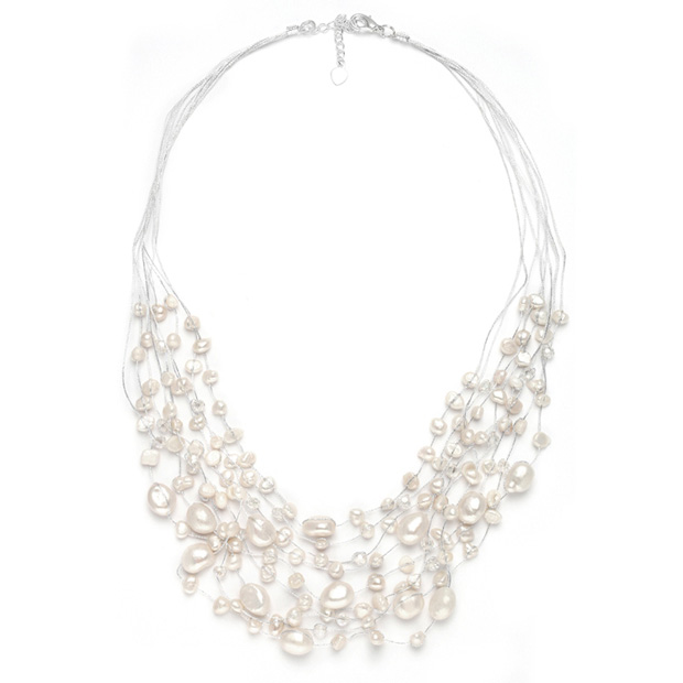 Mariell Genuine Freshwater Pearls & Crystals Beach Wedding Necklace