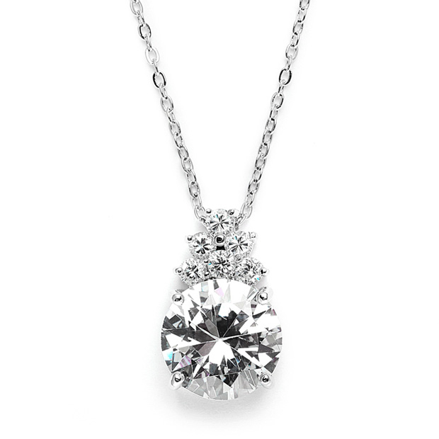 Mariell Bold CZ Bridal Or Bridesmaid Necklace Pendant