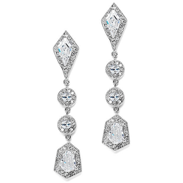 Mariell Empress & Noble Cut Cubic Zirconia Bridal Earrings