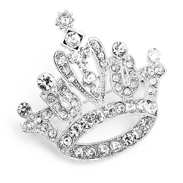 Mariell Crystal Rhinestone Crown Pin for Pageant