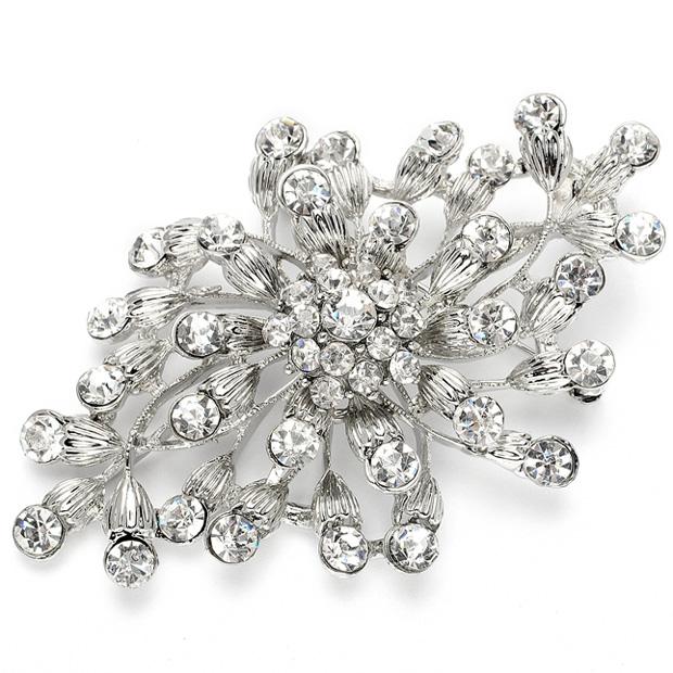 Mariell Budding Crystal Blossoms Silver Wedding Pin