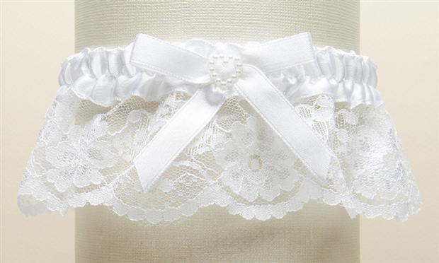 Mariell White Lace Wedding Garter with Satin Band with Pearl Heart