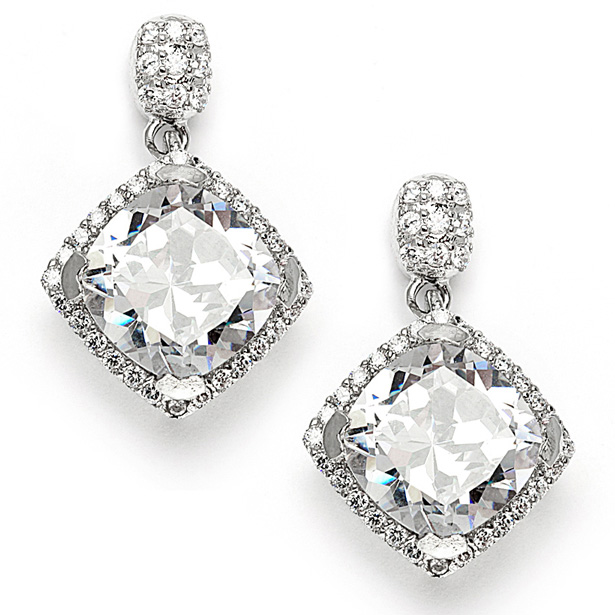 Mariell Popular Micro Pave CZ Cushion Cut Wedding Earrings
