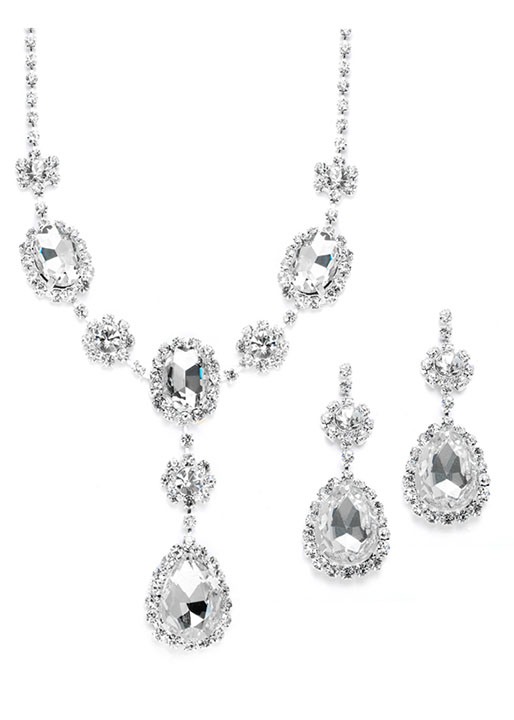Mariell Rhinestone Prom & Bridesmaid Necklace Set with Clear Teardrops
