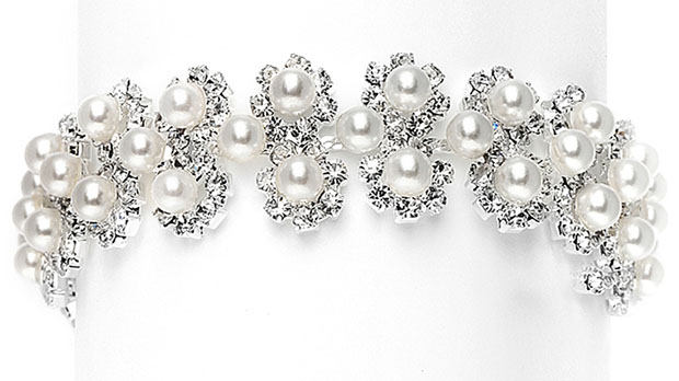 Mariell White Pearl & Silver Rhinestone Bridal Bracelet with Daisies