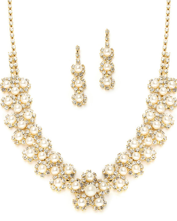 Mariell Ivory Pearl & Gold Rhinestone Necklace Set with Daisies