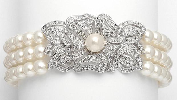 Mariell 3-Row Pearl & Cubic Zirconia Vintage Wedding Bracelet