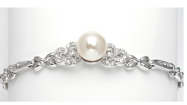 Mariell Sleek Designer Pearl & Cubic Zirconia Wedding Bracelet