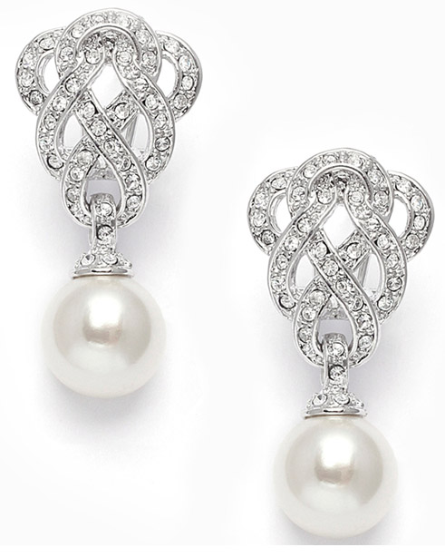 Mariell Clip-On Cubic Zirconia Braided Wedding Earrings with Pearl Drop