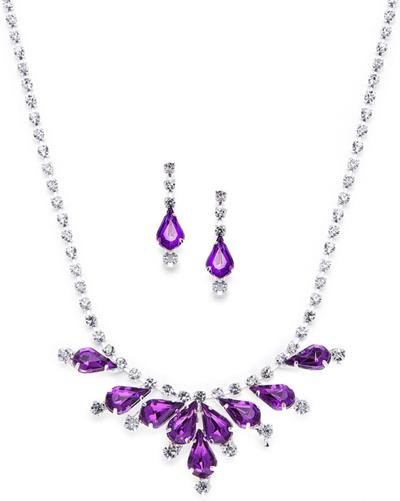 Mariell Rhinestone Prom & Bridesmaid Neck Set with Purple Pears