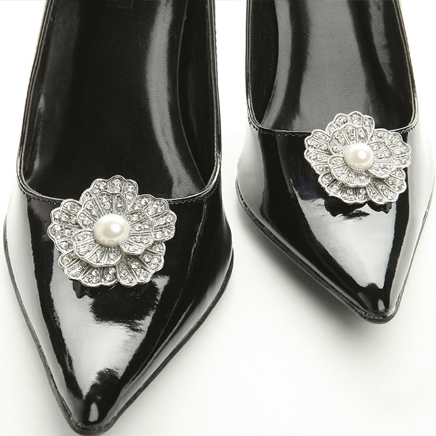 Mariell Vintage Marcasite flower Shoe Clip with Pearl