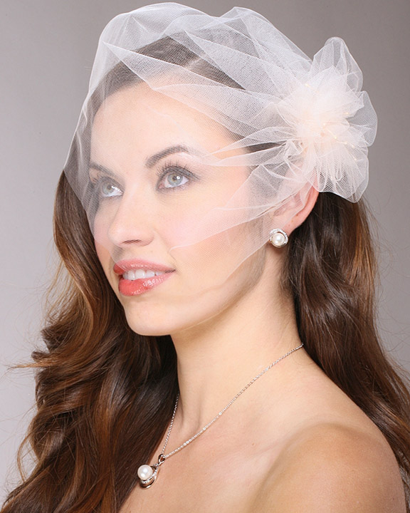 Mariell Tulle Birdcage Veil Bridal Cap with Side Pouf & Stamen Accents: Champagne
