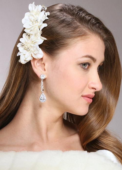 Mariell Silk flower, Pearl & Crystal Vintage Bridal Hair Clip
