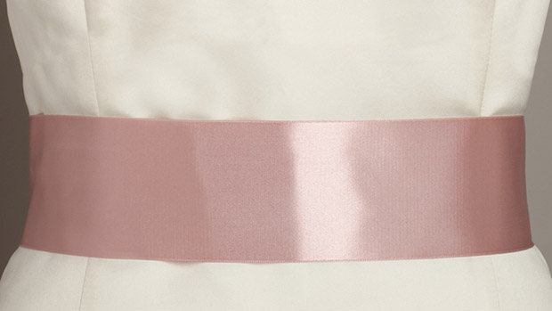 Mariell Blush Color Double Sided French Satin Ribbon Sash