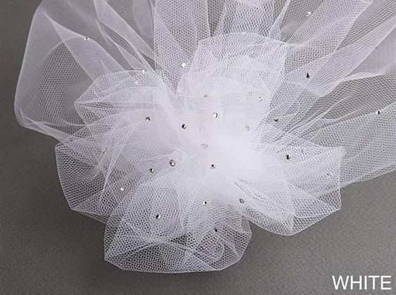 Mariell Tulle Birdcage Veil Bridal Cap with Side Pouf & Swarovski Crystals: White