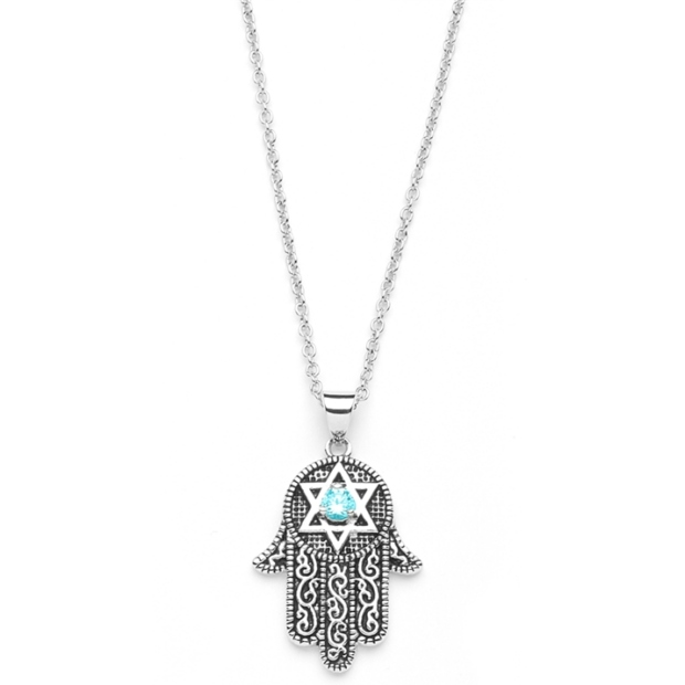 Mariell Hand of God Pendant with Aquamarine CZ and Star of David