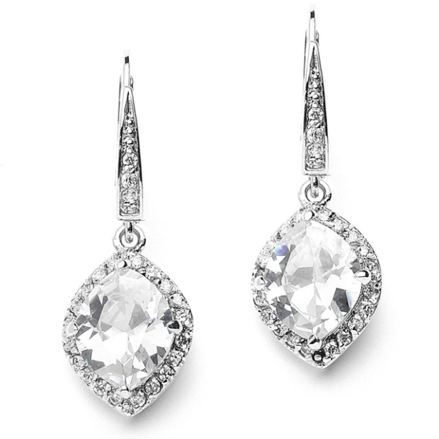 Mariell Best-Selling Marquise Cubic Zirconia Drop Wedding Earrings with Vintage Euro Wire Top
