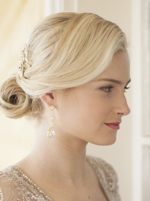 Mariell Best-Selling Pear-Shaped Drop Bridal Earrings with Gold Pave CZ : Clip On