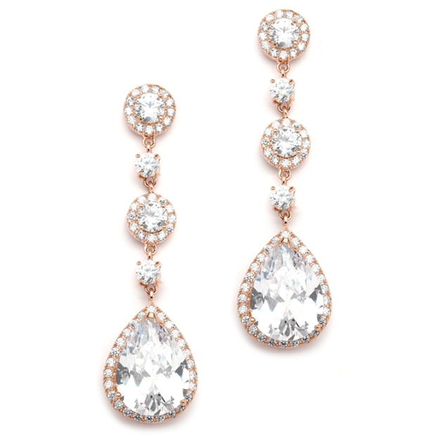 Mariell Best-Selling Rose Gold Bridal Earrings with Pear-Shaped CZ Drop : Clip On