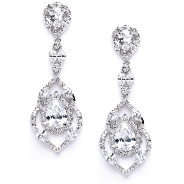 Mariell Best Selling Cubic Zirconia Dangle Wedding Or Prom Earrings