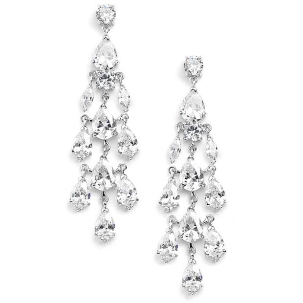 Mariell Cubic Zirconia Silver Chandelier Wedding Earrings