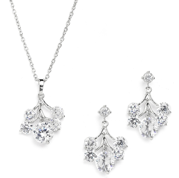 Mariell Popular Cubic Zirconia Bridesmaids Or Bridal Necklace & Earrings Set