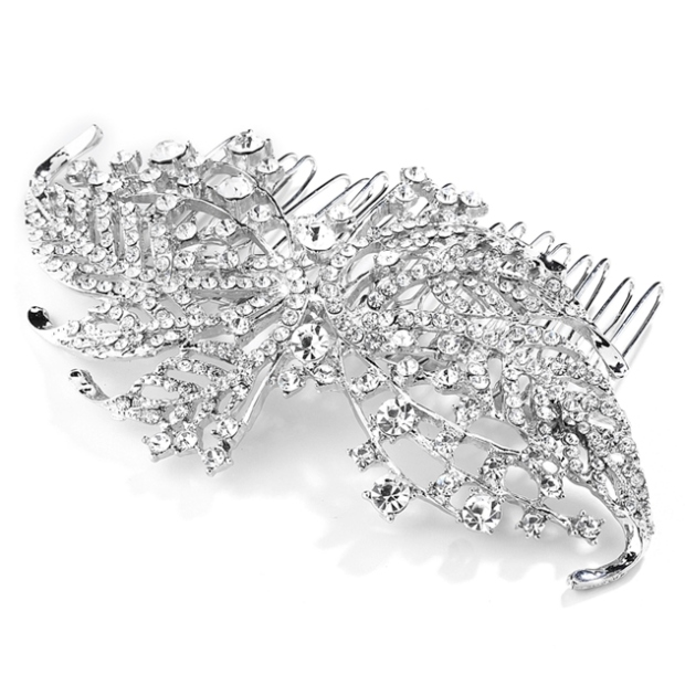 Mariell Sparkling Crystal Leaves Bridal Or Prom Hair Comb