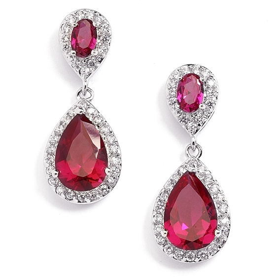 Mariell Top-Selling Fuchsia/Ruby Cubic Zirconia Teardrop Wedding Earrings