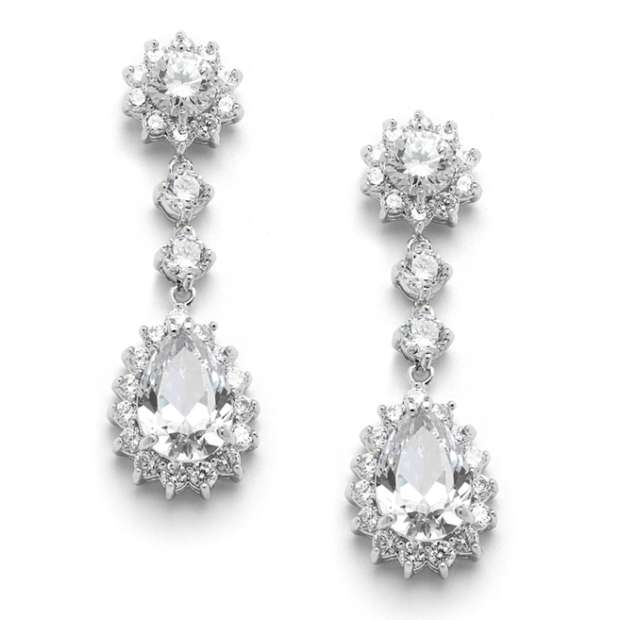 Mariell Cubic Zirconia Bridal Or Bridesmaids Dangle Earrings with CZ Jeweled Frame